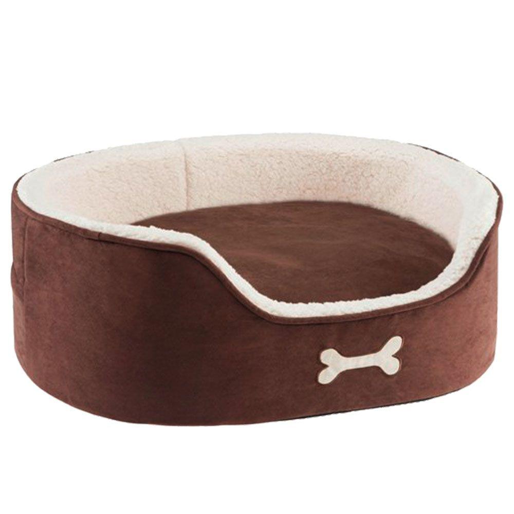 Fleecy Snuggle Bed - Brown / Ivory - 74 x 57 x 26 cm (L x W x H)