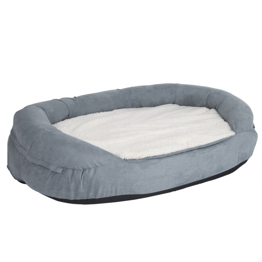 Oval Memory Foam Dog Bed - Grey - 72 x 50 x 20 cm (L x W x H)