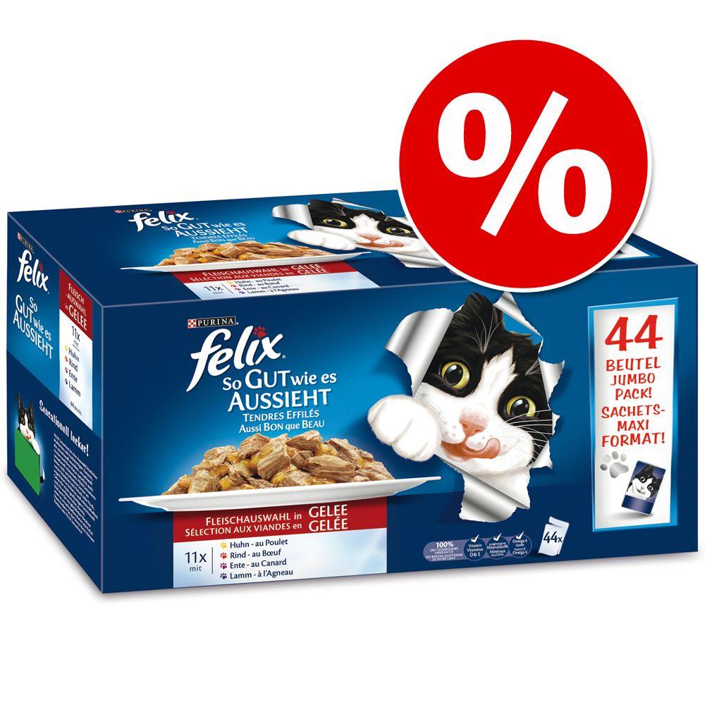 Felix ´´So gut wie es aussieht´´ Jumbo-Pack 44 x 100 g - Köstliche Fleischauswahl