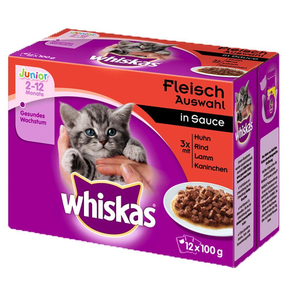 Whiskas Junior w saszetkach, 12 x 100 g - Wybór dań mięsnych w sosie
