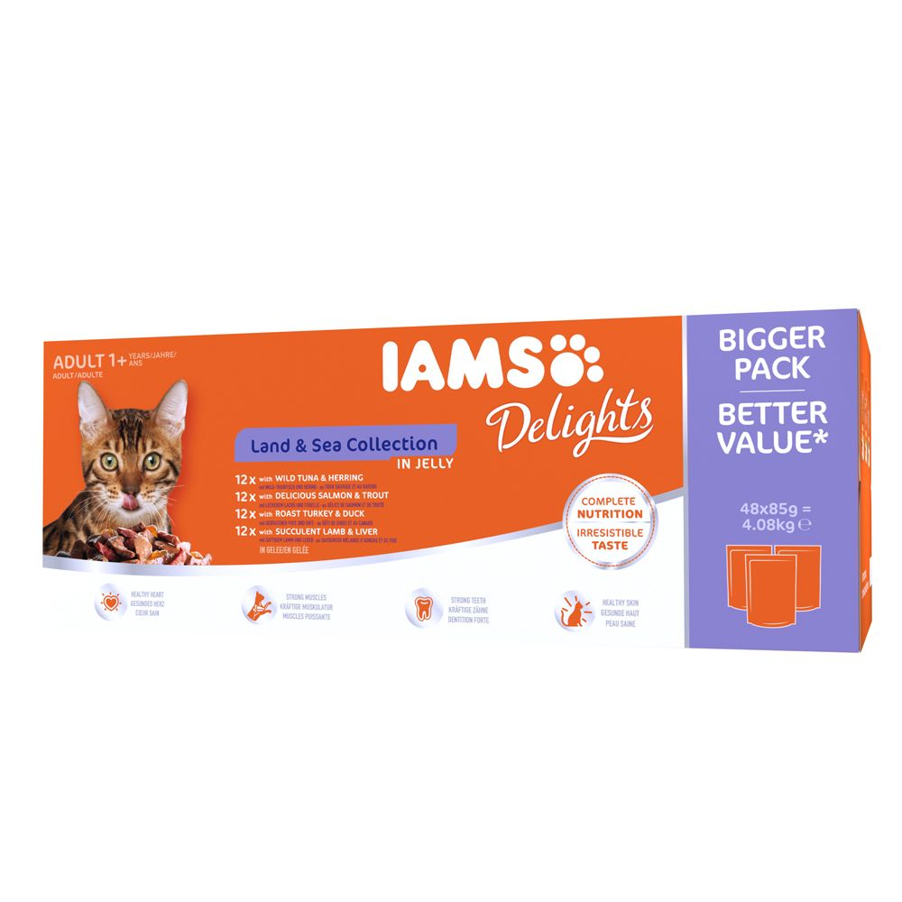 12x85g Adult Land Collection in Gravy IAMS Delights Wet Cat Food