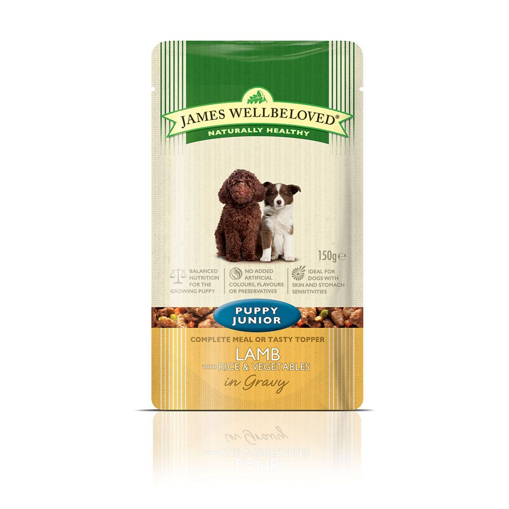 James Wellbeloved Pouches Saver Pack 40 x 150g - Puppy & Junior: Lamb with Rice