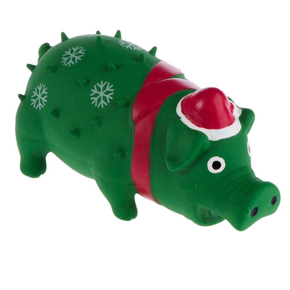 Trixie Christmas Pig Latex Squeaky Dog Toy - 1 Toy