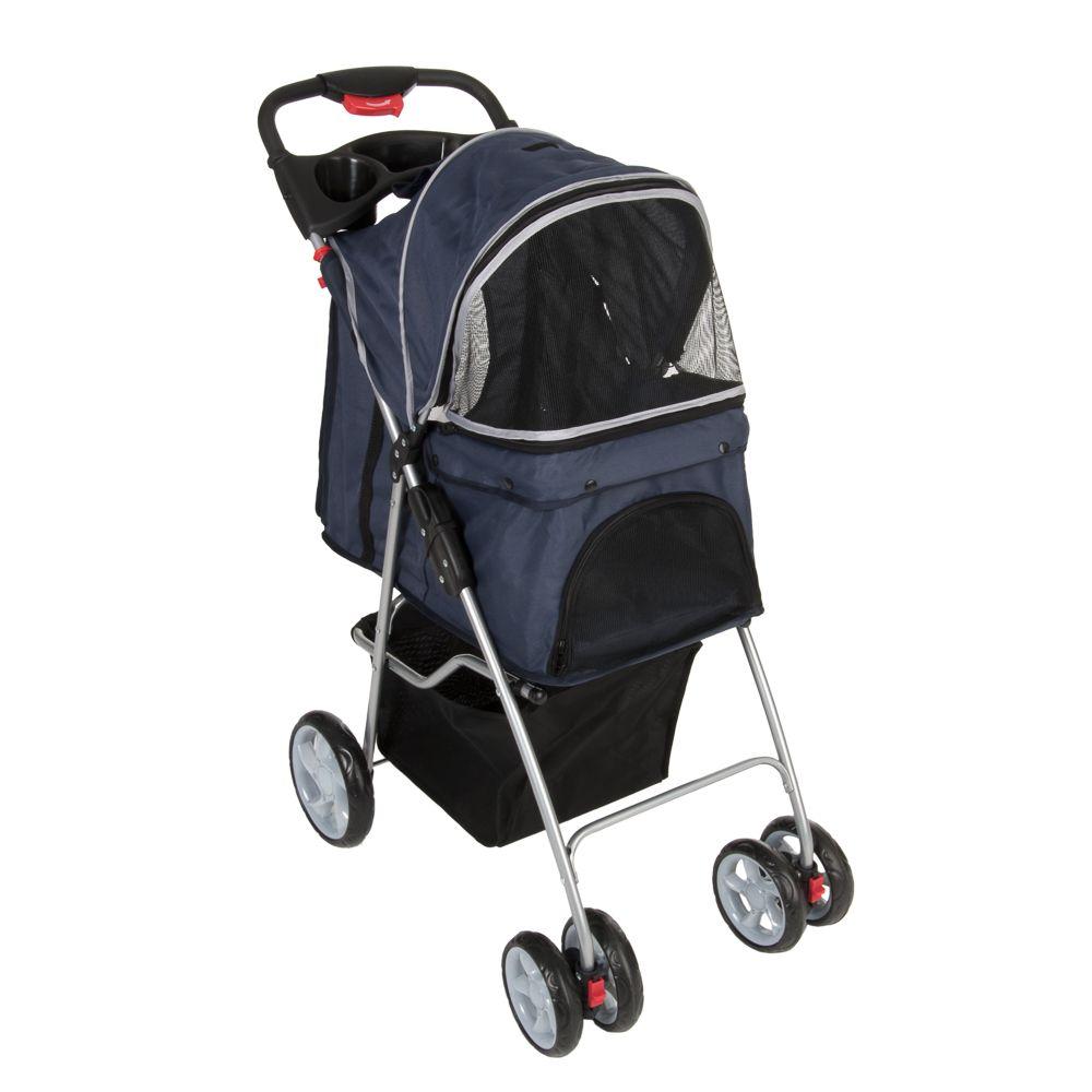 Sporty Pet Stroller - dunkelblau / hellgrau