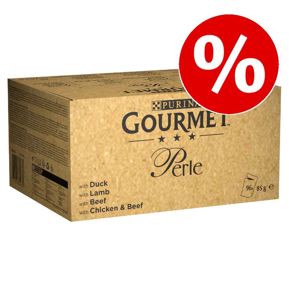 96 x 85 g Gourmet Perle zum Sonderpreis! - Erlesene Streifen in Soße: Ente, Lamm, Rind, Huhn & Rind