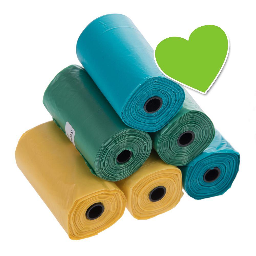 Die Hundekotbeutel sind eine einfache, hygienische und umweltfreundliche Möglichkeit, Ihre Umgebung sauber zu halten. Im Lieferumfang sind 6 Rollen mit jeweils 20 farbenfrohen Beuteln enthalten. Je 2 Rollen haben die Farben gelb, grün und türkis. Diese Hundekotbeutel sind beso...