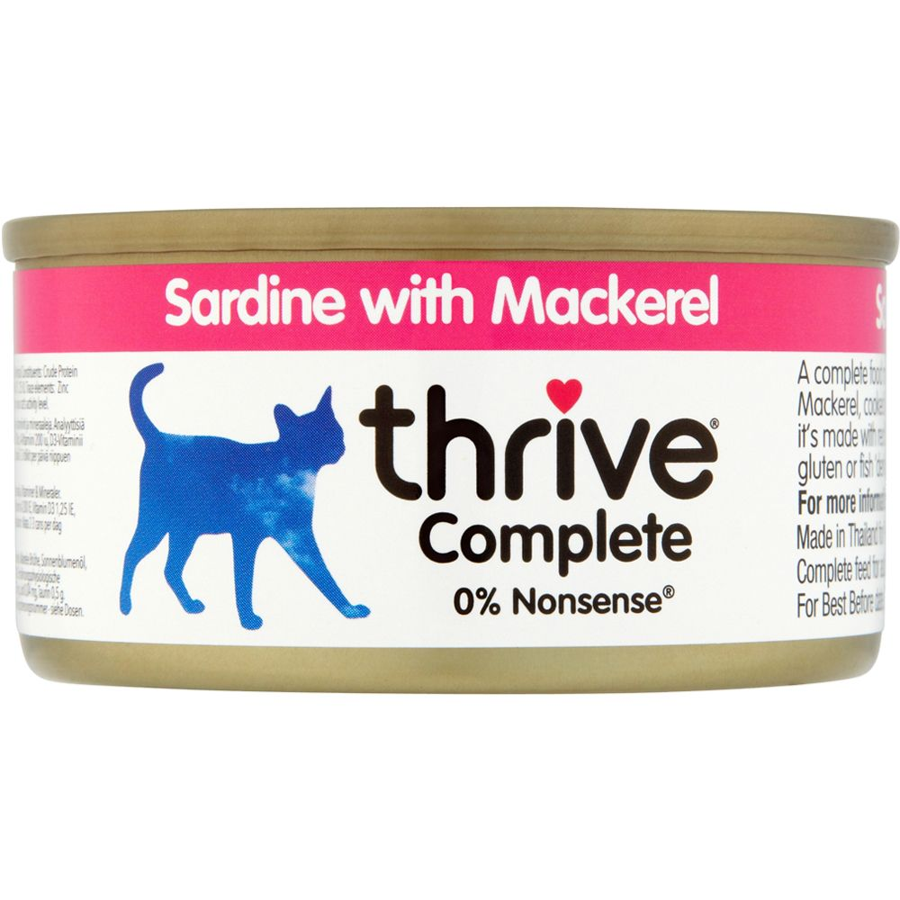 24x75g Sardine & Mackerel thrive Complete Wet Cat Food