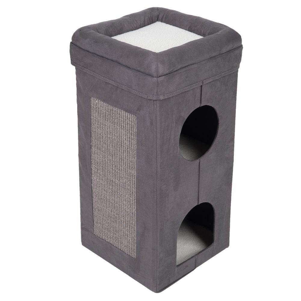 Składana wieża dla kota Soft'n Scratchy - Ciemnoszary | Biały
