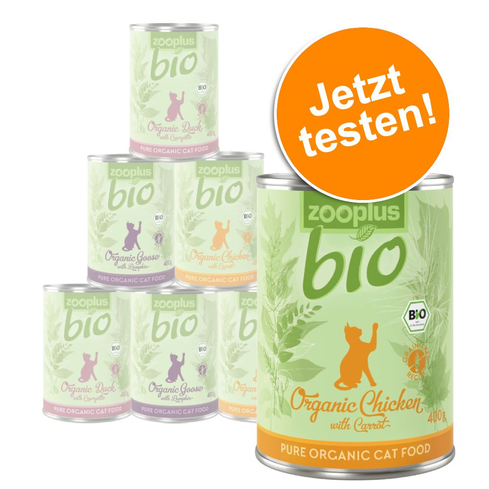 Blandat provpack: zooplus Bio kattfoder 6 x 400 g - 3 sorter