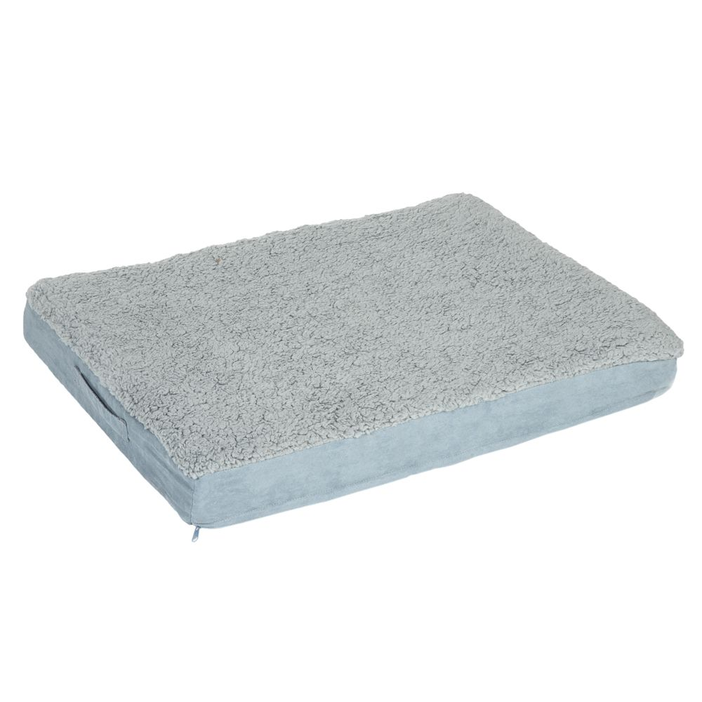 Rectangular Memory Foam Dog Bed - Grey - 123 x 74 x 9 cm (L x W x H)