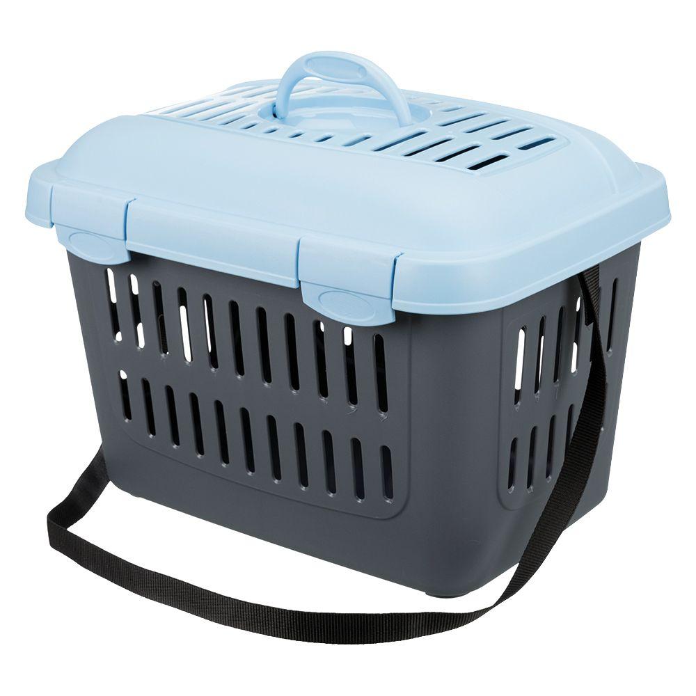 Trixie Transportbox Capri - L 44 x B 33 x H 32 cm (dunkelgrau / hellblau)