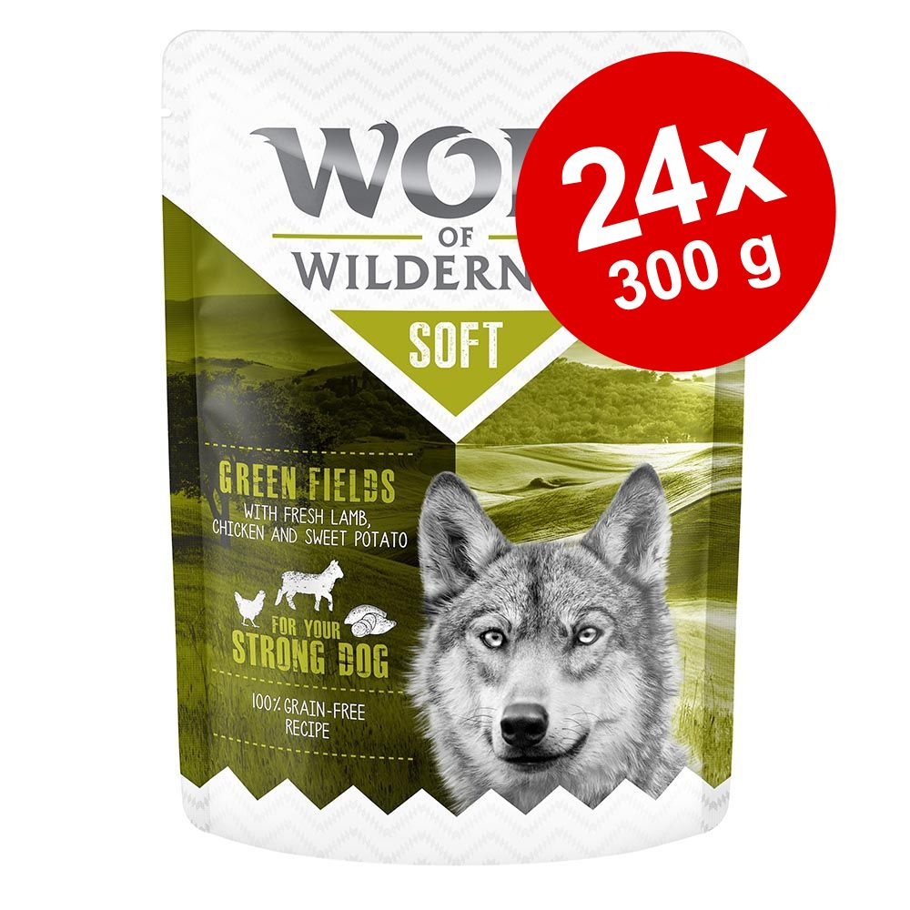 "Ekonomipack: 24 x 300 g Wolf of Wilderness """"Soft & Strong"""" - Meadow Grounds - Chicken & Rabbit"