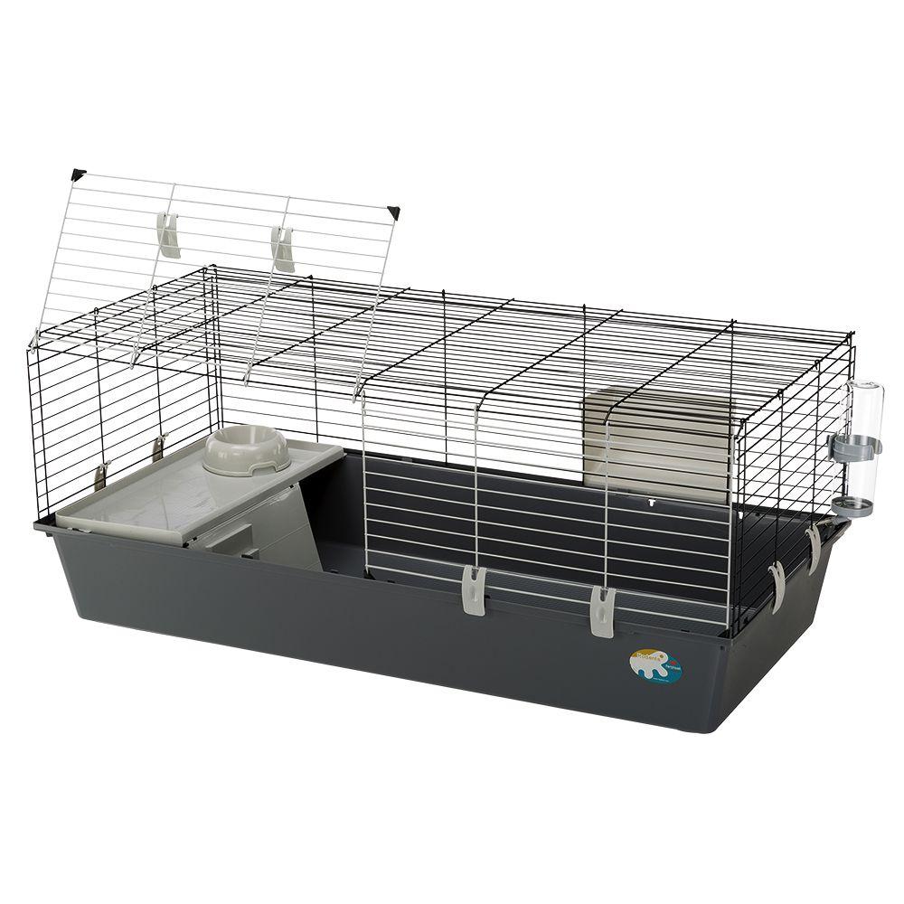 Cage Ferplast Rabbit 120 pour lapin et cochon d´Inde - L 118 x l 58,5 x H 51,5 cm (bac gris clair)