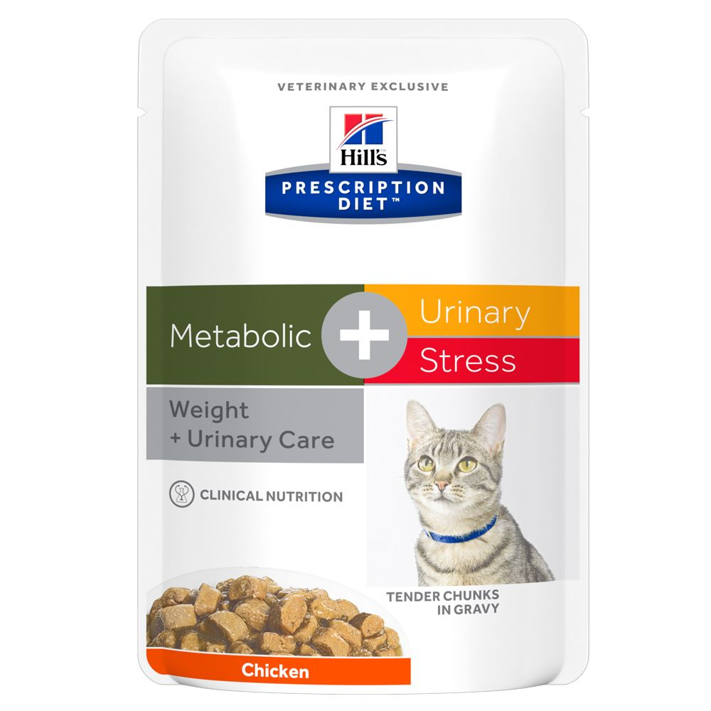 Metabolic + Urinary Stress Pouches Feline Hill's Prescription Diet Wet Cat Food