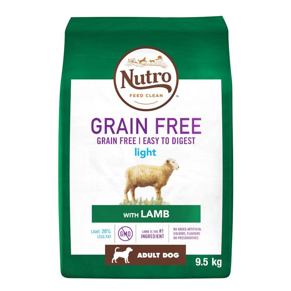 2x9.5kg Nutro Dog Grain-Free Light Adult Lamb Dry Dog Food