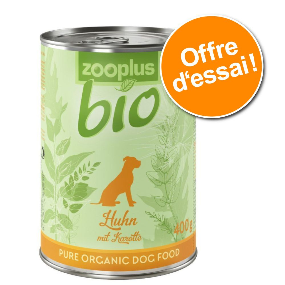 1x400g zooplus Bio poulet bio, carottes - Pâtée pour chien