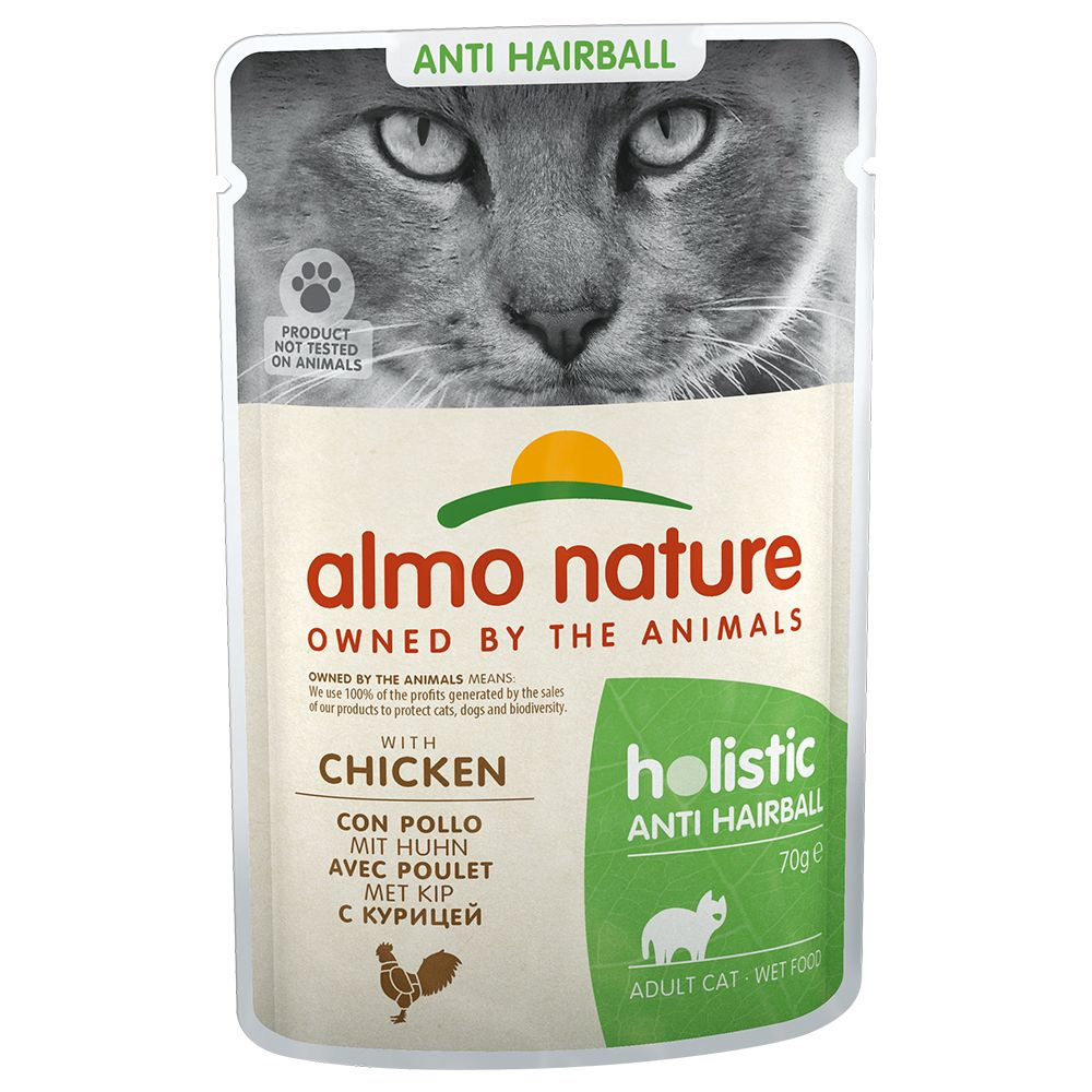 Almo Nature Holistic Anti Hairball portionspåse - 24 x 70 g med kyckling
