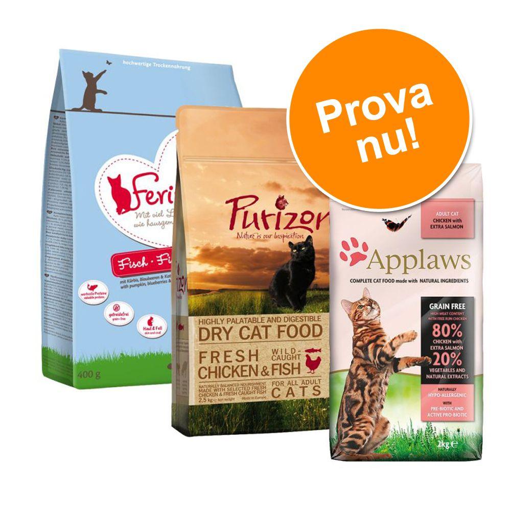 Blandat provpack: 3 x 400 g Applaws, Feringa och Purizon katt-torrfoder - Blandpack med kyckling och fisk