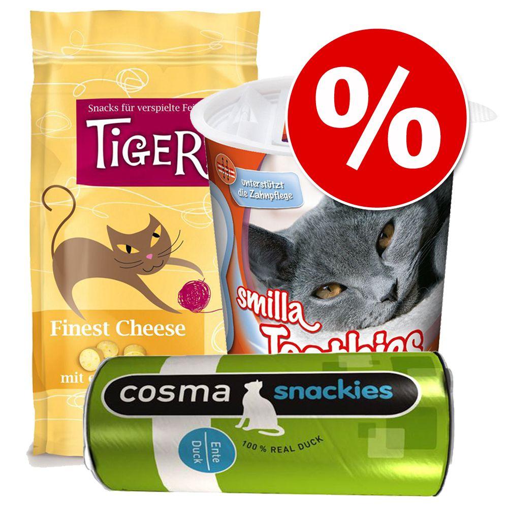 Blandat snackpaket för katter - Toothies 125 g + Snackies 21 g + Finest Cheese 50 g
