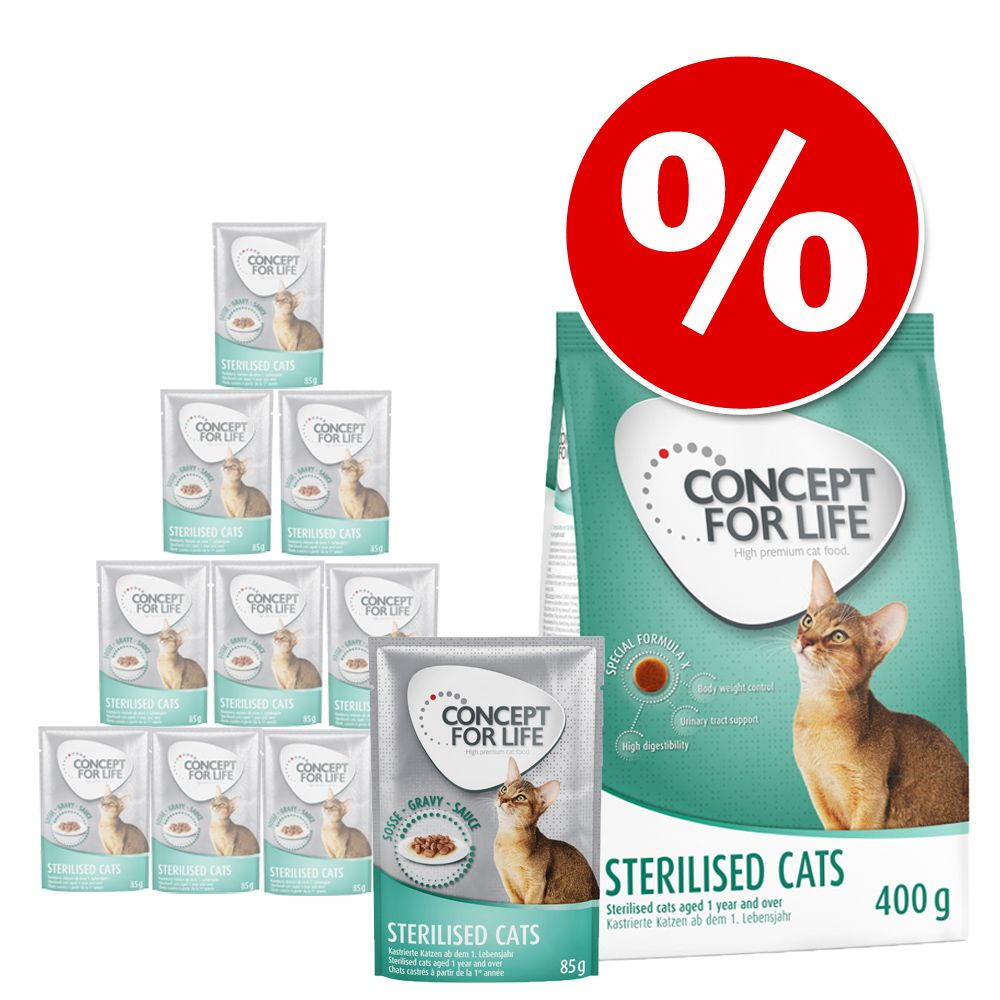 400 g Concept for Life + 12 x 85 g karma mokra w sosie - All Cats 10+