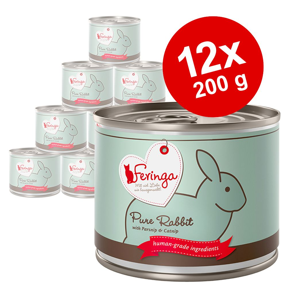 Ekonomipack: Feringa Pure Meat Menue 12 x 200 g - Kyckling med pumpa & kattmynta