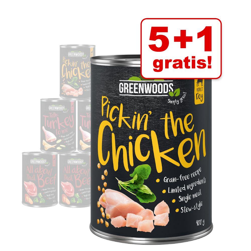 5 + 1 på köpet! Greenwoods 6 x 400 g Nötkött med sötpotatis & broccoli