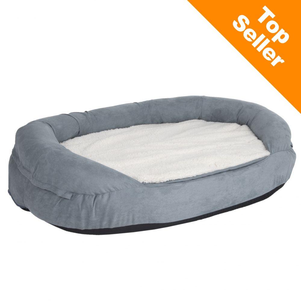 Memory oval hundbädd, grå - L 117 x B 72 x H 24 cm