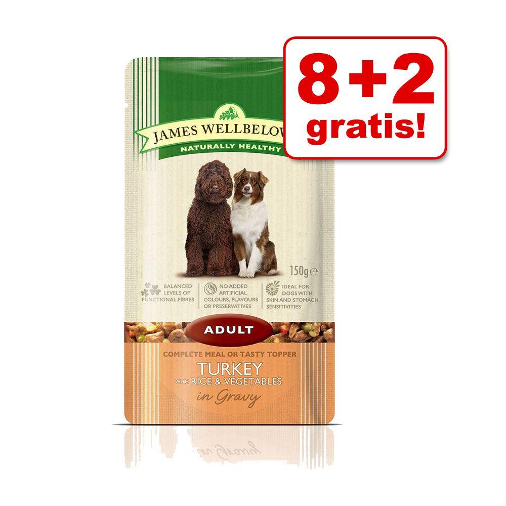8 + 2 på köpet! 10 x 150 g James Wellbeloved Pouches våtfoder - Adult Turkey & Rice