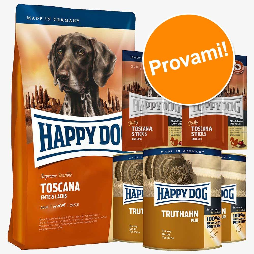 Foto Set prova misto Happy Dog Toscana secco + umido + snack - 12,5 kg + 6 x 800 g + 6 x 10 g Happy Dog Supreme Sensible