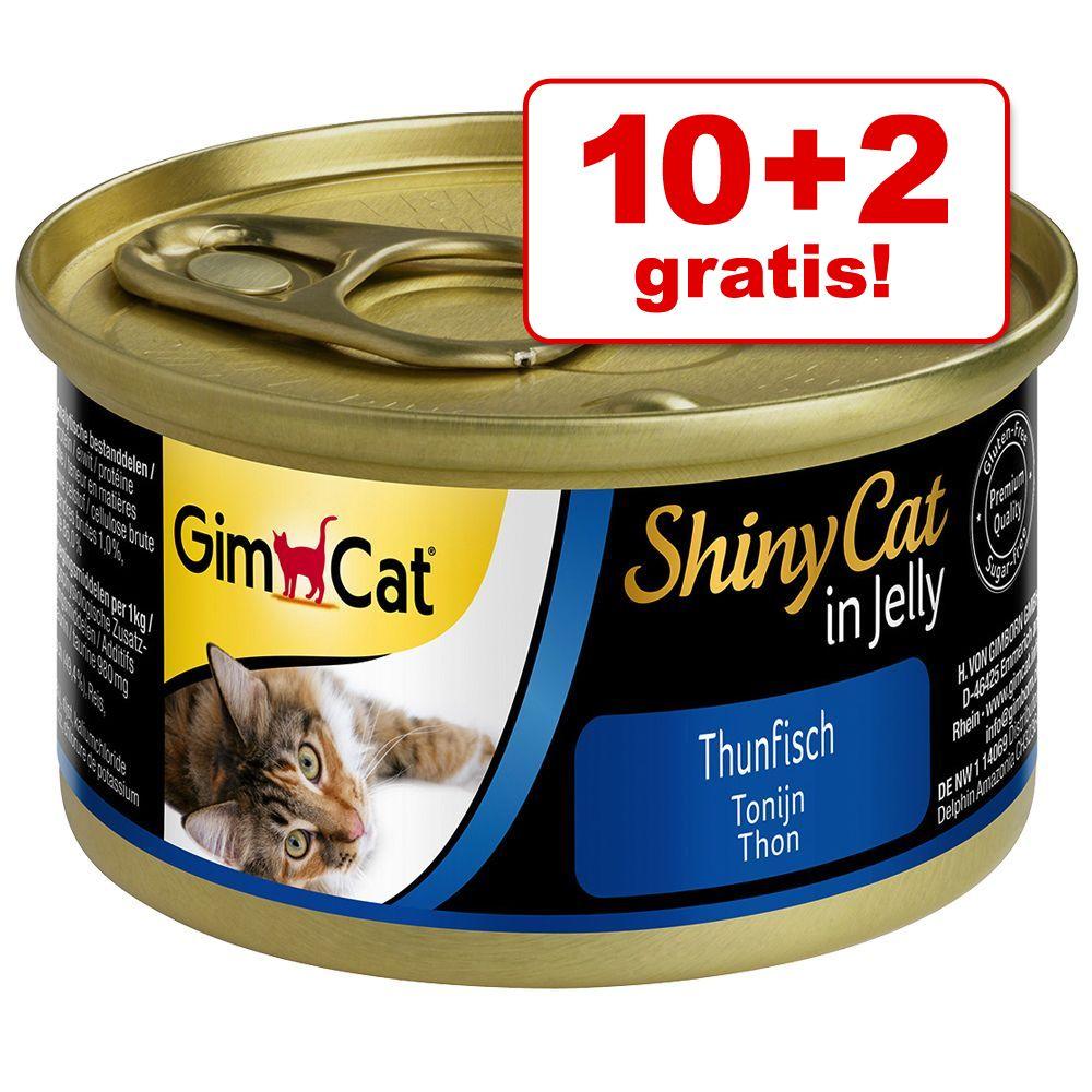 10 + 2 på köpet! 12 x 70 g GimCat ShinyCat - Kyckling