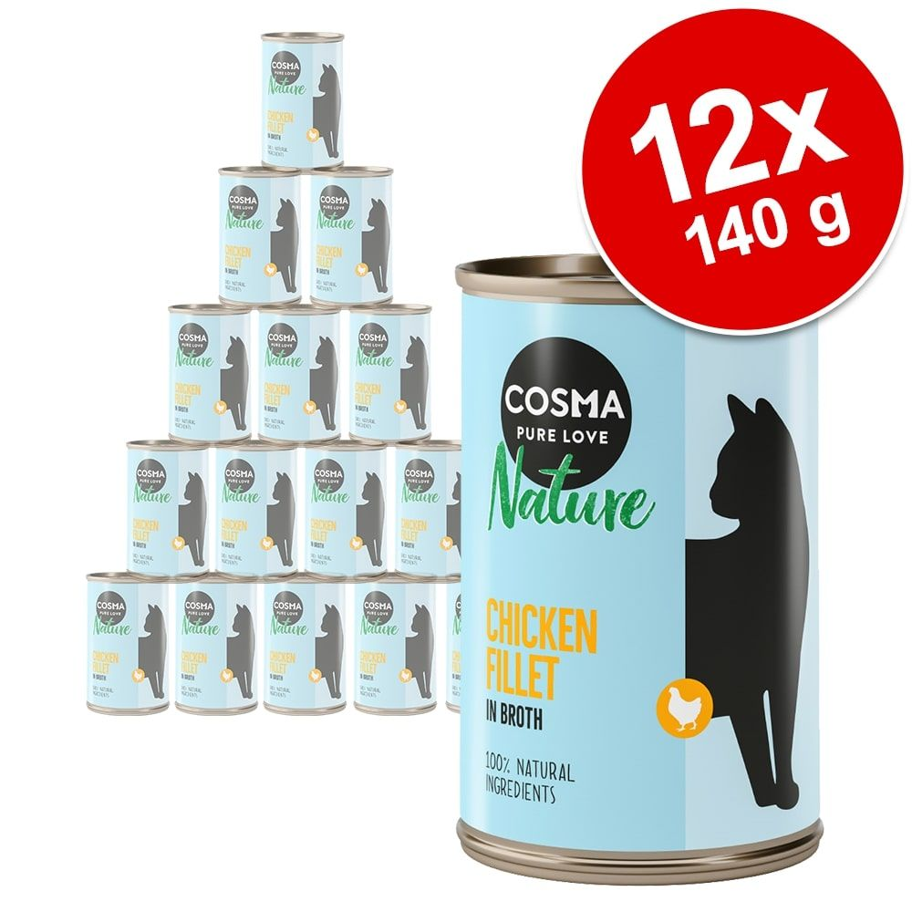 Ekonomipack: Cosma Nature 12 x 140 g Kyckling & tonfisk med ost