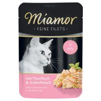 6 x 100 g Miamor Fijne Filets Kattenvoer Tonijn in Zalm gelei