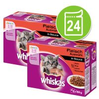 Megapack Whiskas Junior Maaltijdzakjes 24 x 100 g Gemengd pakket