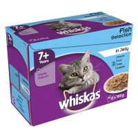 Whiskas 7+ Senior Pouches in Jelly - Saver Pack: 48 x 100g Fish Selection