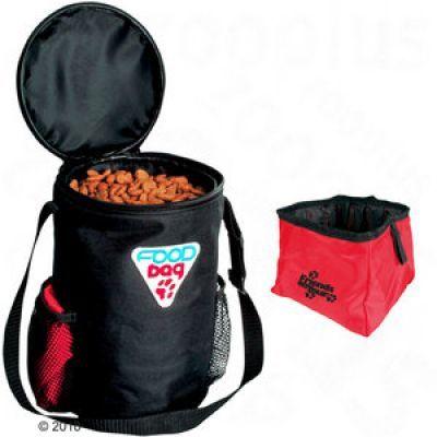 Reseset Foodbag foderbehållare och reseskål – Nylon reseset