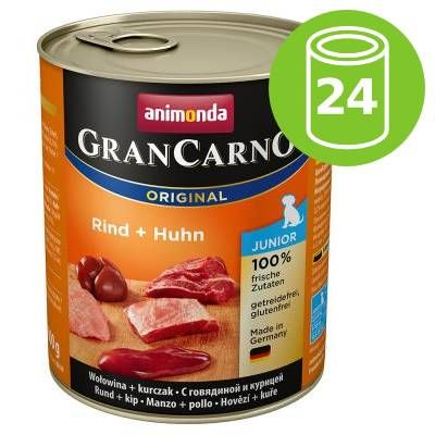 Ekonomipack: Animonda GranCarno Original Junior 24 x 800 g - Nötkött & kalkonhjärta