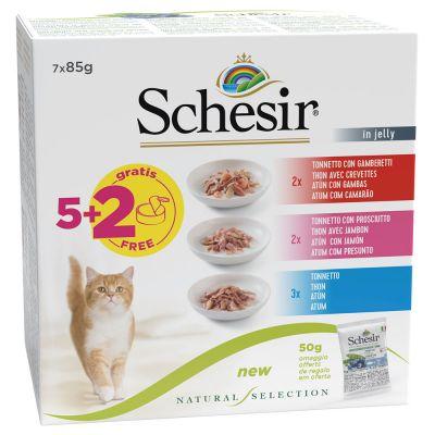 Schesir Natural Selection -kokeilupakkaus 7 x 85 g märkäruokaa - 3 makua