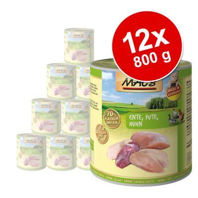 MAC´s Cat -kissanruoka 12 x 800 g - lajitelma: ankka, kalkkuna, kana + nauta & kanansydän