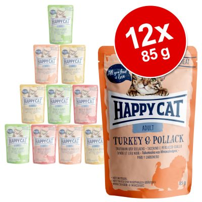 Happy Cat Pouch Mix 12 x 85 g - Meat in Sauce Mix (3 makua)