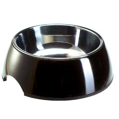 Melamin kattskål, svart med innerskål av rostfritt stål – 160 ml, 11 cm, H 4,5 cm