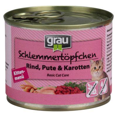 Grau Gourmet Kitten, nauta, kalkkuna & porkkana - 6 x 200 g