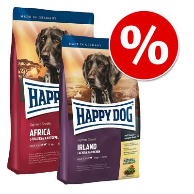 Happy Dog Supreme -säästösekoitus: 2 x 12,5 kg - mix: Afrikka & Irlanti