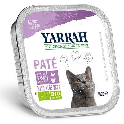 Yarrah Bio 48 x 100 g en tarrinas para gatos - Pack Ahorro - Vacuno ecológico con achicoria ecológica - Paté