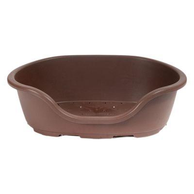 Lindo hundkorg i plast – mörkbrun – Storlek 6: B 102 x D 71 x H 32 cm