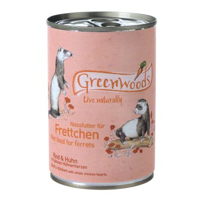 Greenwoods våtfoder för illrar Nötkött & kyckling – 6 x 400 g