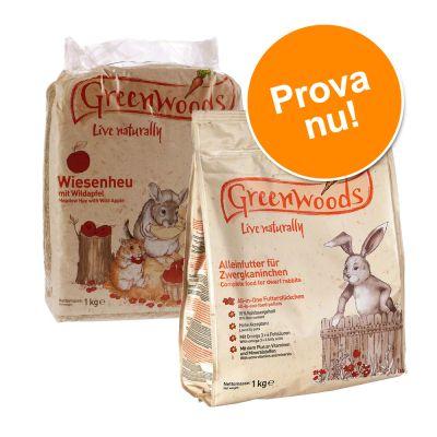 Provpack: Greenwoods gnagarfoder + ängshö! – 1 kg Dvärgkaninfoder + 1 kg Vildäpplen ängshö