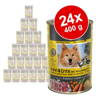 Belcando Super Premium 24 x 400 g -säästöpakkaus - nautaa porkkanalla ja herneillä
