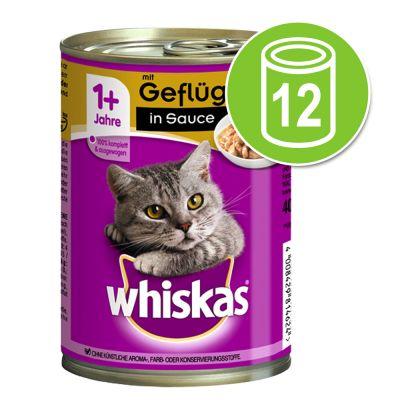 Whiskas Adult 1+ -purkkiruoka 12 x 400 g - in Sauce, siipikarja