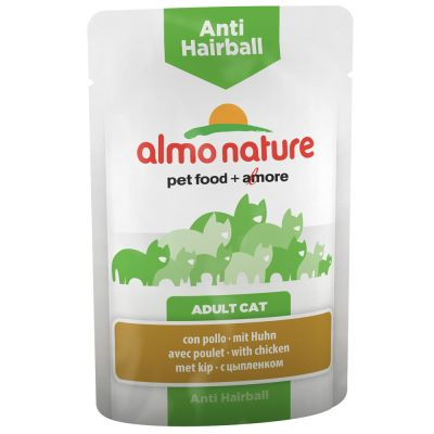 Almo Nature Anti Hairball Pouch kana – 6 x 70 g