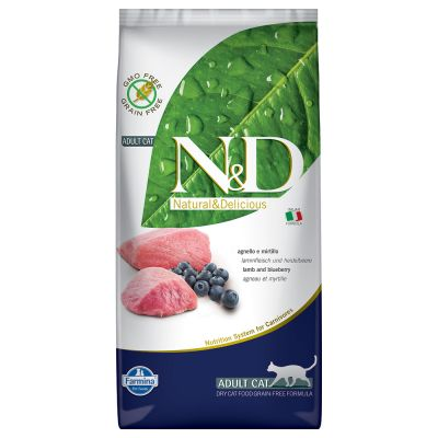 N&D Cat Grain Free Lamb & Blueberry - säästöpakkaus: 2 x 5 kg